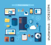 flat icons for server computing ... | Shutterstock .eps vector #192815594