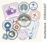 canada travel stamps set ... | Shutterstock .eps vector #1928161637
