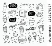 fast food doodles hand drawn... | Shutterstock .eps vector #1928175137