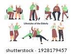 elderly senior people lifestyle ... | Shutterstock .eps vector #1928179457
