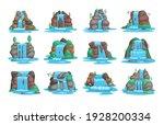 set of waterfall. river... | Shutterstock .eps vector #1928200334