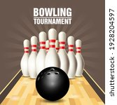 skittles and ball bowling court ... | Shutterstock .eps vector #1928204597