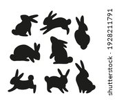 easter bunny black silhouette... | Shutterstock .eps vector #1928211791