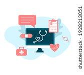 online tele medicine flat... | Shutterstock .eps vector #1928213051