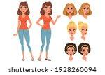 pretty girl in various poses...   Shutterstock .eps vector #1928260094