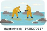 scientists in protective suits... | Shutterstock .eps vector #1928270117