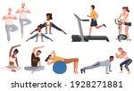 sports activities scenes set.... | Shutterstock .eps vector #1928271881