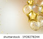 border with golden balloons and ... | Shutterstock .eps vector #1928278244