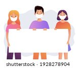 group of people with mask... | Shutterstock .eps vector #1928278904