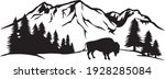 american bison and mountain... | Shutterstock .eps vector #1928285084