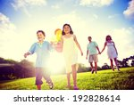 family outdoors walking toward... | Shutterstock . vector #192828614