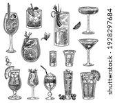 Cocktail Glasses Sketches Set....