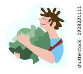 funny happy farmer in overalls... | Shutterstock .eps vector #1928321111