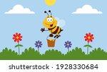 Bee Cartoon Character Flying...
