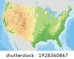 complex usa physical map with... | Shutterstock .eps vector #1928360867