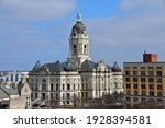 Cityscape photo of the Evansville, Indiana old courthouse