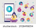 woman communicates with... | Shutterstock .eps vector #1928498054