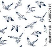 seamless pattern. seagulls... | Shutterstock .eps vector #1928520614