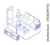 isometric blue living room  tv...   Shutterstock .eps vector #1928539751