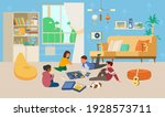 children playing board game on... | Shutterstock .eps vector #1928573711