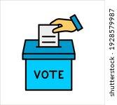 vote color line icon. hand... | Shutterstock .eps vector #1928579987