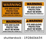 warning sign eye and glove... | Shutterstock .eps vector #1928606654