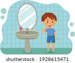 a kid boy brush clean teeth.... | Shutterstock .eps vector #1928615471