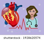 heart health is a girl doctor... | Shutterstock .eps vector #1928620574