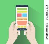 smartphone in hands in flat...