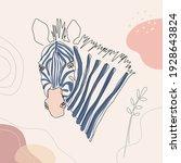 zebra head vector one line art... | Shutterstock .eps vector #1928643824
