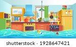 clogged kitchen sink. kitchen... | Shutterstock .eps vector #1928647421