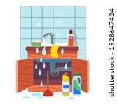 clogged kitchen sink. leaking... | Shutterstock .eps vector #1928647424