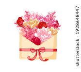 envelope with tulips and roses. ... | Shutterstock .eps vector #1928648447