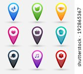 set of vector map pointers with ... | Shutterstock .eps vector #192865367