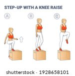 step up with a knee raise... | Shutterstock .eps vector #1928658101