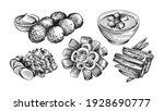 hand drawn sketch set of dutch... | Shutterstock .eps vector #1928690777