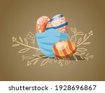 painted eggs with medical mask... | Shutterstock .eps vector #1928696867