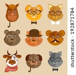 decorative animal hipsters... | Shutterstock . vector #192871784