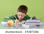 7 years old boy doing his... | Shutterstock . vector #19287286