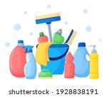 set of detergents in cartoon... | Shutterstock .eps vector #1928838191
