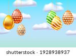 happy easter colored eggs... | Shutterstock .eps vector #1928938937