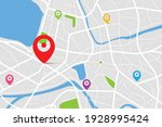 3d top view of a map with... | Shutterstock .eps vector #1928995424