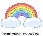 rainbow with clouds. a seven... | Shutterstock . vector #1929007151