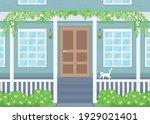 home exterior flat color vector ...   Shutterstock .eps vector #1929021401