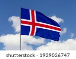 Iceland flag isolated on sky...