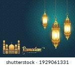 ramadan kareem greeting card... | Shutterstock .eps vector #1929061331