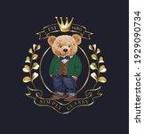 cute bear doll in golden olive... | Shutterstock .eps vector #1929090734