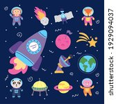 set space icons and animals | Shutterstock .eps vector #1929094037
