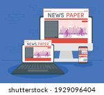 devices and online news... | Shutterstock .eps vector #1929096404