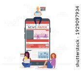 girls using smartphone online... | Shutterstock .eps vector #1929097934